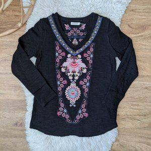 Boho Embroidered black long sleeves Top